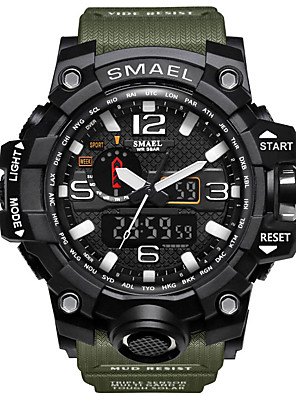 cheap Sport Watches-SMAEL Men's Sport Watch Military Watch Wrist Watch Japanese Quartz Quilted PU Leather Black / Blue / Red 50 m Water Resistant / Waterproof Alarm Calendar / date / day LED Analog - Digital Charm