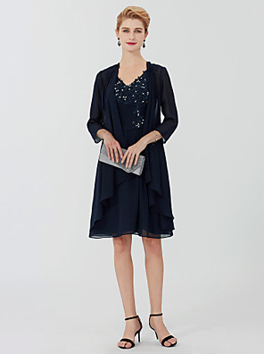 cheap Cocktail Dresses-Sheath / Column Mother of the Bride Dress Elegant Plus Size V Neck Knee Length Chiffon Beaded Lace 3/4 Length Sleeve with Beading Appliques 2020 / Illusion Sleeve