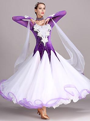 cheap Junior Bridesmaid Dresses-Ballroom Dance Dress Appliques Crystals / Rhinestones Women's Training Performance Long Sleeve High Tulle Velvet