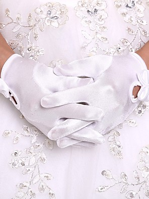 cheap Cocktail Dresses-Orlon Wrist Length Glove Flower Girl Gloves With Faux Pearl / Ruffles
