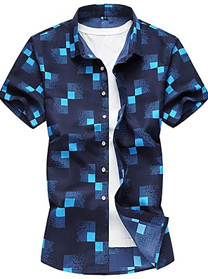 cheap Men's Shirts-Men's Plaid Slim Shirt - Cotton Daily White / Navy Blue / Light Blue / Spring / Summer / Short Sleeve
