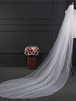 cheap Wedding Wraps-Two-tier Simple Style Wedding Veil Chapel Veils with Fringe Tulle / Straight Cut