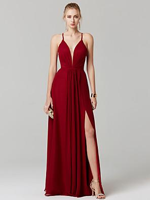 cheap Evening Dresses-Sheath / Column Chic & Modern Elegant Beautiful Back Prom Formal Evening Dress Plunging Neck Sleeveless Floor Length Chiffon with Pleats Split Front 2020