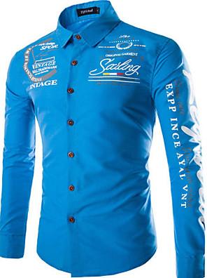 povoljno Muške košulje-Muškarci Dnevno Majica Geometrijski oblici Osnovni Dugih rukava Slim Tops Kineski ovratnik Obala Plava Red