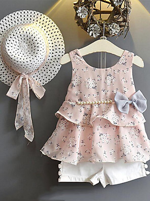 cheap Girls' Dresses-Toddler Girls' Street chic Daily Going out Floral Printing Sleeveless Regular Clothing Set Blushing Pink