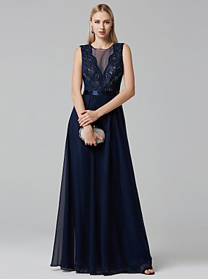 cheap Evening Dresses-Ball Gown Elegant Prom Formal Evening Dress Plunging Neck Sleeveless Floor Length Chiffon Tulle with Sash / Ribbon Beading 2020