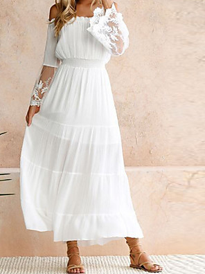 cheap Plus Size Dresses-Women's Maxi White Swing Dress - Long Sleeve Solid Colored Lace Spring Summer Off Shoulder Party Beach Off Shoulder White S M L XL
