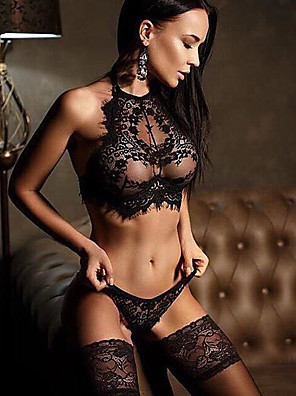 cheap Suits-Women's Lace Backless Wireless Lace Bras Padless Full Coverage Bras & Panties Sets Solid Colored Sexy Gift Daily Wear Black White