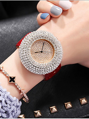 cheap Quartz Watches-Women's Luxury Watches Pave Watch Diamond Watch Quartz Ladies Casual Watch Genuine Leather Black / White / Red Analog - White Black Red