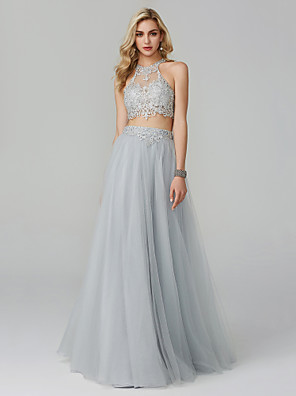 cheap Prom Dresses-Two Piece Empire Grey Prom Formal Evening Dress Halter Neck Sleeveless Floor Length Lace Tulle with Appliques 2020