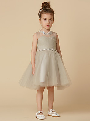 cheap Flower Girl Dresses-Princess Knee Length Pageant Flower Girl Dresses - Satin Sleeveless Scoop Neck with Sash / Ribbon / Criss Cross / Appliques