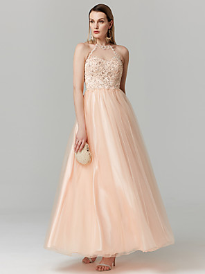 cheap Prom Dresses-A-Line Elegant Sparkle & Shine Pastel Colors Prom Formal Evening Dress Jewel Neck Sleeveless Ankle Length Chiffon Metallic Lace with Pleats Appliques 2020