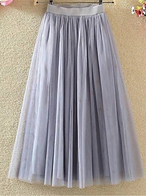 cheap Bridesmaid Dresses-Women's Going out Tutus A Line Skirts - Solid Colored Mesh / Tulle / Long White Black Gray M L XL