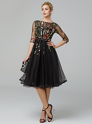 cheap Cocktail Dresses-A-Line Floral Black Cocktail Party Prom Dress Illusion Neck Long Sleeve Knee Length Tulle with Embroidery Appliques 2020