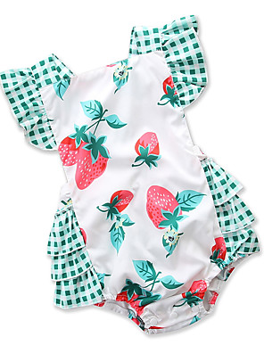 cheap Girls' Dresses-Baby Girls' Active Daily / Holiday Print / Patchwork Backless / Classic / Stylish Sleeveless Cotton Romper Green / Cute / Toddler