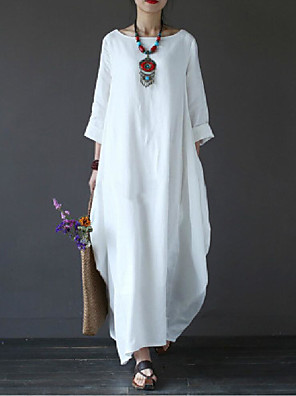 cheap Evening Dresses-Women's Plus Size Maxi White Dress - 3/4 Length Sleeve Solid Colored Oversized Spring Fall Casual Weekend Loose White Black Red Green Light Blue L XL XXL XXXL XXXXL XXXXXL / Cotton