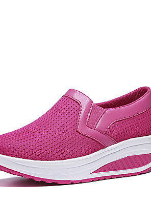 cheap Plus Size Dresses-Women's Loafers & Slip-Ons Summer / Fall Wedge Heel Round Toe Casual Sweet Minimalism Daily Outdoor Solid Colored Mesh Black / Fuchsia / Blue