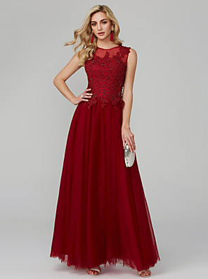 cheap Bridesmaid Dresses-A-Line Elegant Holiday Cocktail Party Formal Evening Dress Jewel Neck Sleeveless Floor Length Tulle with Beading Appliques 2020