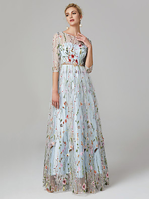 cheap Evening Dresses-A-Line Elegant Floral Holiday Formal Evening Dress Illusion Neck 3/4 Length Sleeve Floor Length Lace Tulle with Embroidery 2020 / Illusion Sleeve