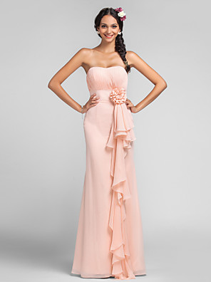 cheap Bridesmaid Dresses-Sheath / Column Sweetheart Neckline Floor Length Chiffon Bridesmaid Dress with Draping / Cascading Ruffles / Flower