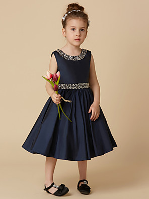 cheap Flower Girl Dresses-A-Line Knee Length Pageant Flower Girl Dresses - Taffeta Sleeveless Jewel Neck with Beading / Crystal Brooch