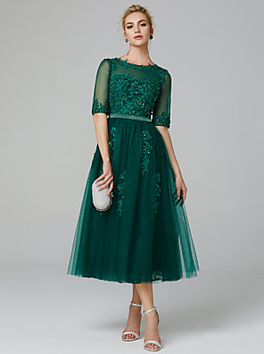 cheap Evening Dresses-A-Line Sparkle Green Wedding Guest Formal Evening Dress Illusion Neck Sleeveless Tea Length Lace Over Tulle with Sequin Appliques 2020