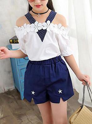 cheap Boys' Tops-Kids Girls' Street chic Daily Polka Dot Floral Patchwork Short Sleeve Regular Clothing Set White