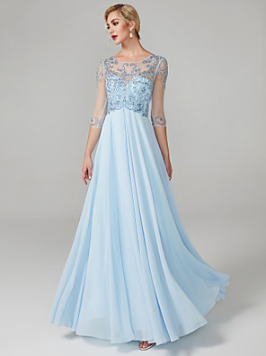 cheap Special Occasion Dresses-Ball Gown Elegant & Luxurious Elegant See Through Prom Formal Evening Dress Jewel Neck 3/4 Length Sleeve Floor Length Chiffon with Crystals Beading 2020