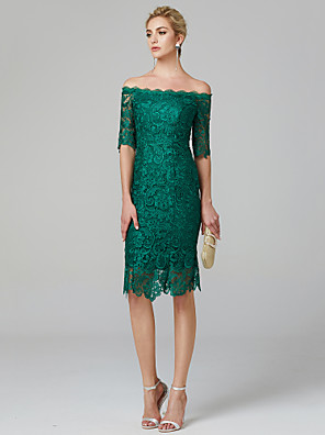 cheap Cocktail Dresses-Sheath / Column Minimalist Green Wedding Guest Cocktail Party Dress Off Shoulder Half Sleeve Knee Length Lace Over Satin with Lace Insert 2020