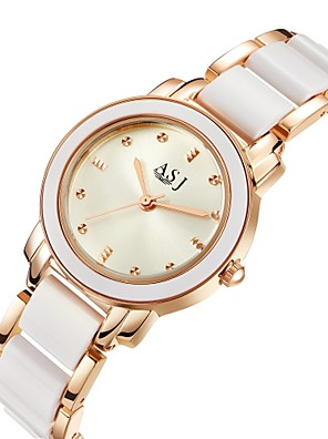 cheap Quartz Watches-ASJ Women's Wrist Watch Gold Watch Quartz Ladies Water Resistant / Waterproof Ceramic Silver / Rose Gold Analog - Rose Gold Silver Two Years Battery Life / Imitation Diamond / SSUO 377