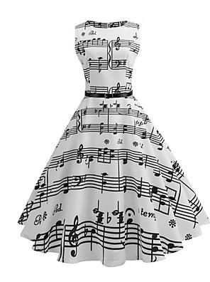 cheap Women's Dresses-Women's White A Line Dress - Sleeveless Striped Print Summer 1950s Vintage White S M L XL XXL