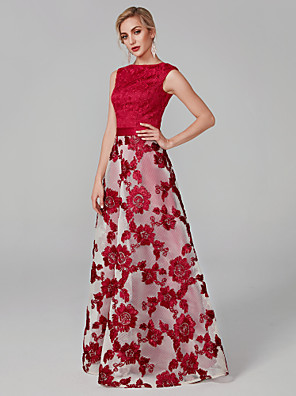 cheap Evening Dresses-A-Line Elegant Red Prom Formal Evening Dress Boat Neck Sleeveless Floor Length Lace with Lace Insert Embroidery Appliques 2020