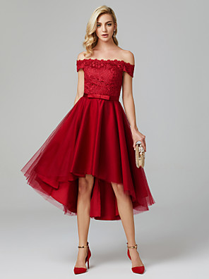 cheap Prom Dresses-Back To School A-Line Elegant High Low Homecoming Cocktail Party Dress Off Shoulder Sleeveless Asymmetrical Lace Over Tulle with Bow(s) 2020 Hoco Dress