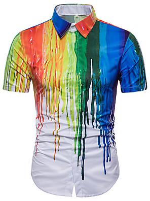 cheap Men's Shirts-Men's Plus Size Rainbow Shirt Basic Daily Holiday Rainbow / Summer / Short Sleeve