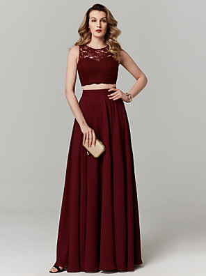 cheap Prom Dresses-Two Piece Empire Red Prom Formal Evening Dress Illusion Neck Sleeveless Floor Length Chiffon Lace with Pleats Lace Insert 2020
