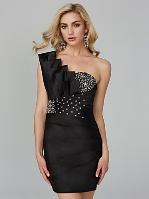 cheap Cocktail Dresses-Back To School Sheath / Column Cute Homecoming Cocktail Party Dress One Shoulder Sleeveless Short / Mini Satin with Ruched Beading Bandage 2020 Hoco Dress