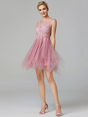 cheap Cocktail Dresses-A-Line Sexy Pink Homecoming Cocktail Party Dress Illusion Neck Sleeveless Short / Mini Lace Over Tulle with Appliques 2020