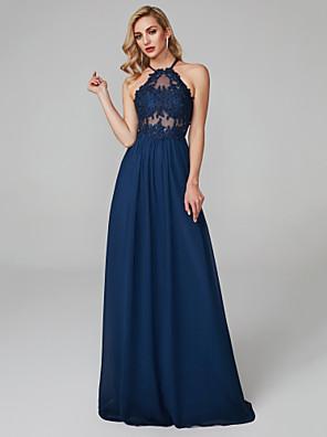 cheap Evening Dresses-Sheath / Column Elegant & Luxurious Beautiful Back See Through Prom Formal Evening Dress Halter Neck Sleeveless Floor Length Chiffon Tulle with Beading Appliques 2020