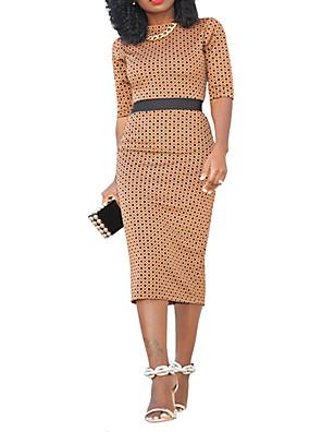 cheap Casual Dresses-Women's Bodycon Dress - Half Sleeve Polka Dot Spring Summer Strap Basic Street chic Daily Weekend Slim High Waist Polka Dot Black Red Brown S M L XL XXL / Cotton