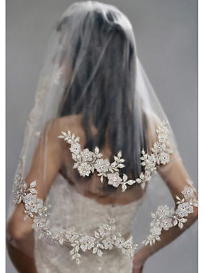 cheap Wedding Wraps-Two-tier Stylish / Pearls Wedding Veil Elbow Veils with Faux Pearl / Embroidery POLY / Drop Veil