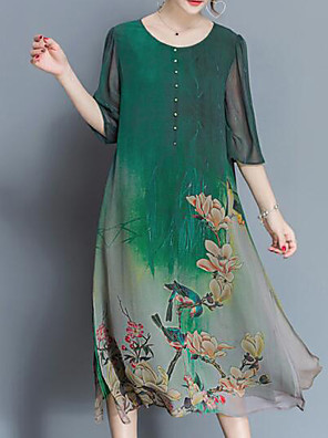 cheap Print Dresses-Women's Plus Size Midi Dress Loose - Half Sleeve Botanical Print Summer Spring & Summer Chinoiserie Daily Loose Floral Green M L XL XXL XXXL XXXXL XXXXXL XXXXXXL