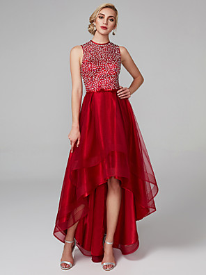 cheap Special Occasion Dresses-Back To School A-Line Sparkle & Shine High Low Keyhole Cocktail Party Prom Dress Jewel Neck Sleeveless Asymmetrical Satin Tulle with Bow(s) Sequin 2020 Hoco Dress