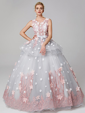 cheap Junior Bridesmaid Dresses-Ball Gown Peplum Blue Quinceanera Formal Evening Dress Jewel Neck Sleeveless Floor Length Lace Over Tulle with Bow(s) Pattern / Print Appliques 2020