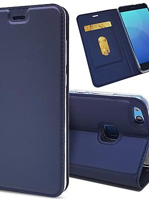 billige Etuier/covers til Huawei-Etui Til Huawei P10 Plus / P10 Lite / P10 Kortholder / Stødsikker / Med stativ Fuldt etui Ensfarvet Hårdt PU Læder