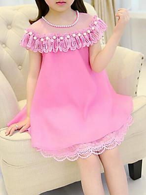 cheap Girls' Dresses-Kids Girls' Casual Street chic Daily Going out Patchwork Short Sleeve Dress Fuchsia