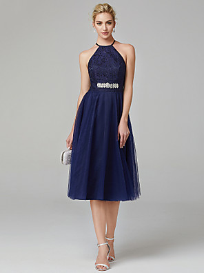 cheap Bridesmaid Dresses-A-Line Minimalist Blue Cocktail Party Prom Dress Halter Neck Sleeveless Tea Length Tulle Shimmer Lace with Lace Insert Appliques 2020