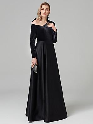 cheap Evening Dresses-A-Line Celebrity Style Prom Formal Evening Dress One Shoulder Long Sleeve Floor Length Satin Velvet with Pleats 2020