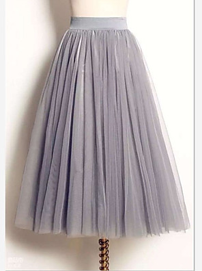 cheap Prom Dresses-Women's Tutus / Cute Maxi Swing Skirts - Solid Colored Tulle White Black Gray S M L