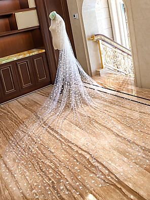 cheap Wedding Veils-One-tier Cut Edge / Bridal Wedding Veil Chapel Veils / Cathedral Veils with Scattered Bead Floral Motif Style Lace / Tulle / Oval