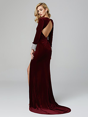 cheap Evening Dresses-Mermaid / Trumpet Elegant Holiday Cocktail Party Prom Dress Plunging Neck Long Sleeve Sweep / Brush Train Velvet with Crystals 2020 / Formal Evening